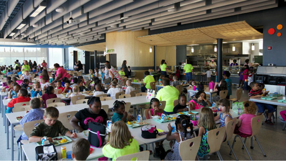 The new cafeteria in Buckingham Country Primary & Elementary Schools in Virginia (courtesy of ABC News and VMDO Architects/Tom Daly Photography)