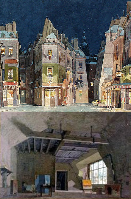 Original set designs for Puccini's La Boheme. Mimì, the opera's protagonist, suffers from and eventually dies from tuberculosis.